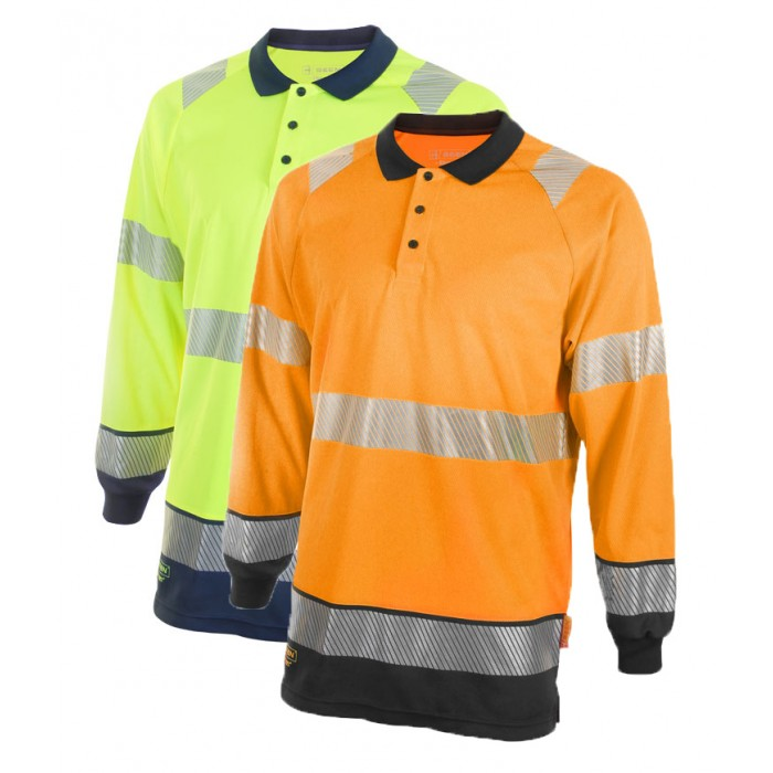 Hi Vis Two Tone Long Sleeve Polo Shirt