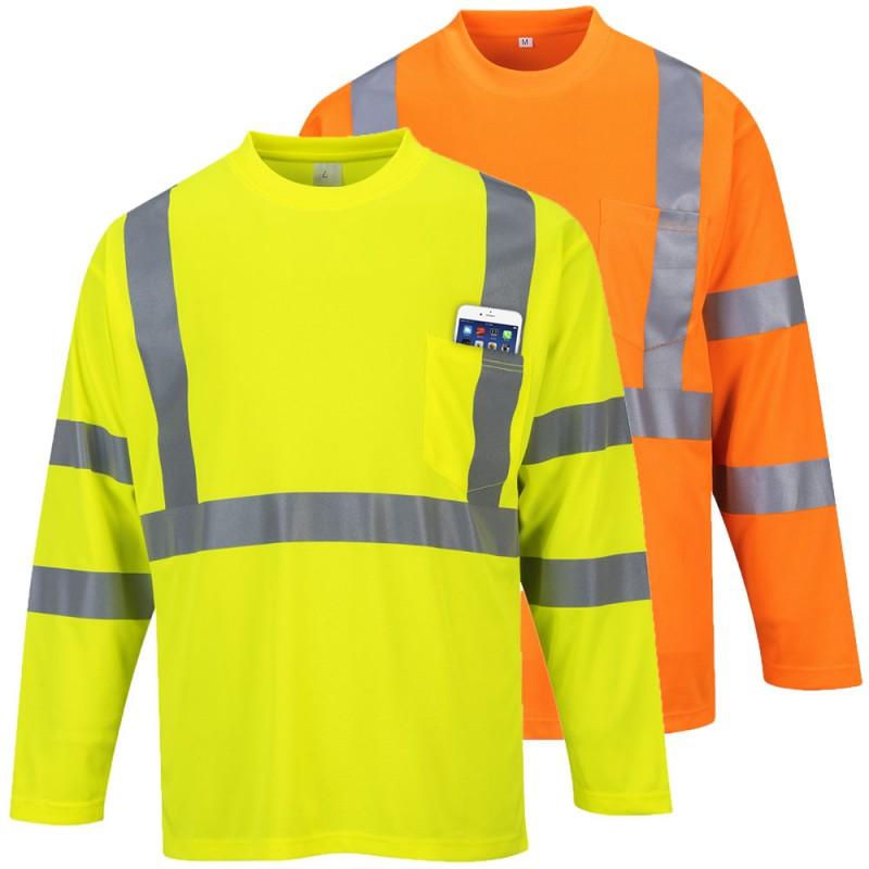 Hi vis long sleeve pocket t shirt for Hi vis polo shirts with pocket